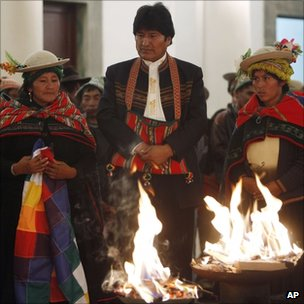 Bolivia's President Evo Morales, top, attends a ritual ceremony honouring Pachamama, Mother Earth, at the government palace in La Paz, Bolivia, 28 September, 2011