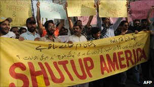 Anti-US demonstration in Lahore on 2 October 2011