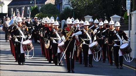 HMS Collingswood marine band marching towards Le Foulon