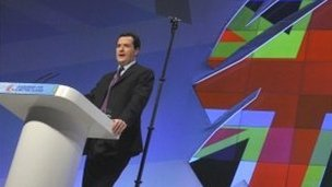 Chancellor George Osborne addresses the Conservative conference in Manchester
