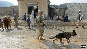 US soldier and dog in Turkham Nangarhar, Afghanistan. 30 Sept 2011