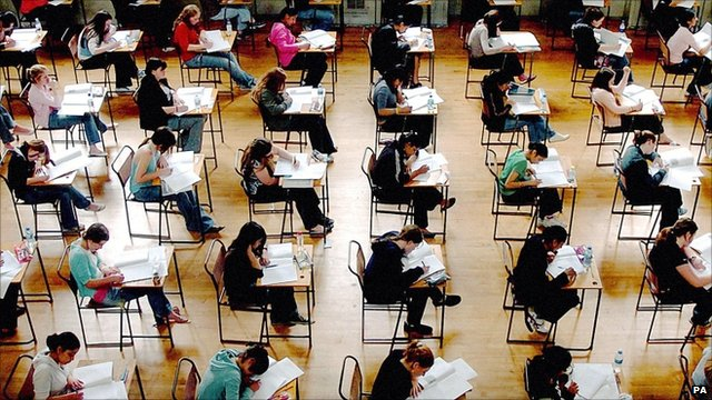 Teenagers taking an exam