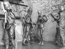 Cybermen (Cyberman) in a scene from the 'Dr Who' adventure 'The Tomb of the Cybermen'