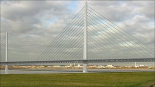 An artist's impression of the Mersey Gateway