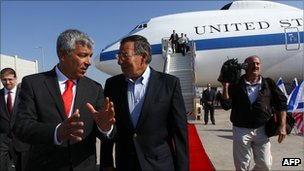 US Secretary of Defence Leon Panetta (C) arrives at Ben Gurion International Airport in Tel Aviv, Israel and is greeted by US Ambassador Dan Shapiro (L) on Monday