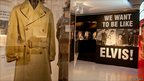 Elvis Presley's army coat at the Elvis and Us exhibition