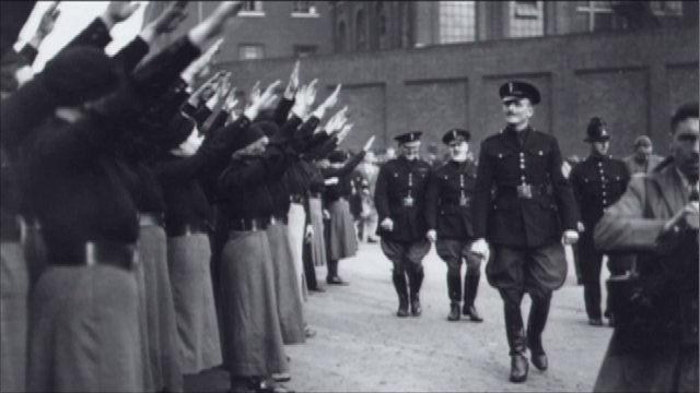 Sir Oswald Mosley inspecting his Black Shirts