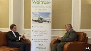 David Cameron and Waitrose managing director Mark Price