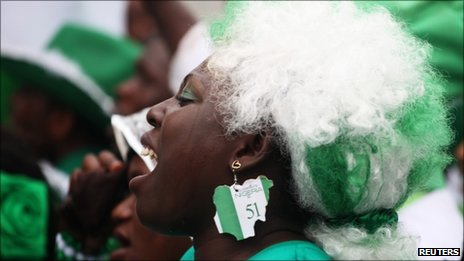 A Nigerian woman in Lagos celebrating the counry's 51st independence anniversary on Saturday 1 October