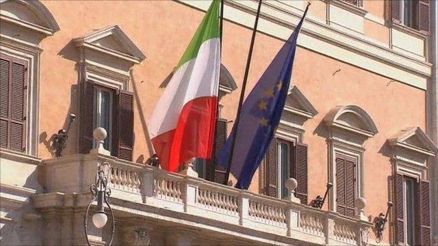An Italian and EU flag side by side