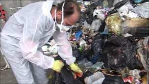 TTS staff sorting through rubbish