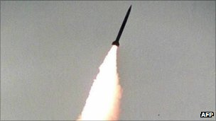 A missile launched from a Russian S300 system (image from 1992)
