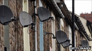 Satellite dishes on homes in a Welsh town
