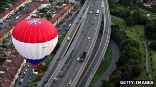 Hot air balloon over Bristol