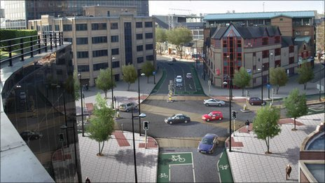 Civic Drive/Franciscan Way junction, Ipswich - artist's impression