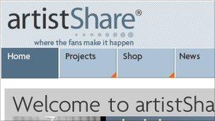Screenshot of ArtistShare