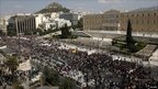 Protests outside the Greek parliament in Athens during an anti-austerity rally
