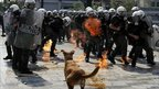 Exploding petrol bomb in Athens' Syntagma Square