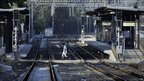 Empty railway station during Greece's general strike