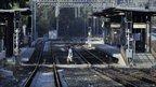 Empty railway station during Greece's general strike