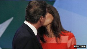 David and Samantha Cameron kiss