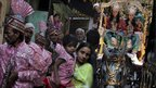 An Indian woman carrying a child walks past a tableau with Indian men dressed as the Hindu god Rama, second right, and his brother Lakshman during a Hindu Dussehra festival procession in Amritsar, India.