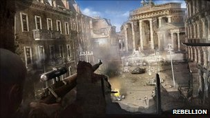 A screenshot from Sniper Elite