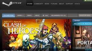 Screenshot of the Steam homepage