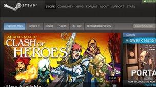 Screenshot of the Steam homepage