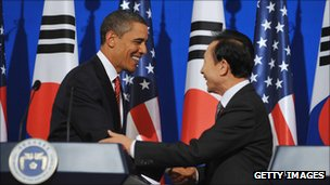 US President Barack Obama and South Korean President Lee Myung-bak