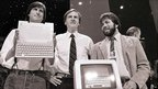 Steve Jobs, John Sculley and Steve Wozniak unveil the new Apple IIc computer