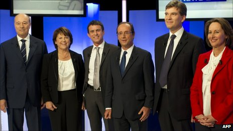 The French Socialist rivals at the last TV debate in Paris