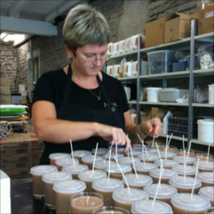 Candle making at JOIK cosmetics