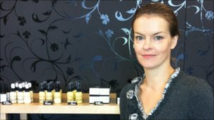 Eva-Maria Ounapuu, founder of JOIK cosmetics in Tallinn with her range of handmade organic products