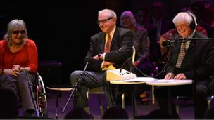 Sue Townsend, Denis Norden and Peter White