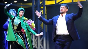 Chechen leader Ramzan Kadyrov (right) dances during the party in Grozny 5 Oct 2011