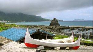 Boats near beach on Lanyu Island