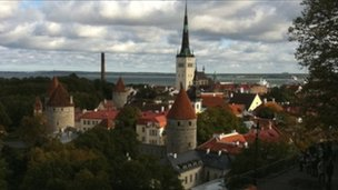 View across Tallinn, Estonia to the Baltic Sea port