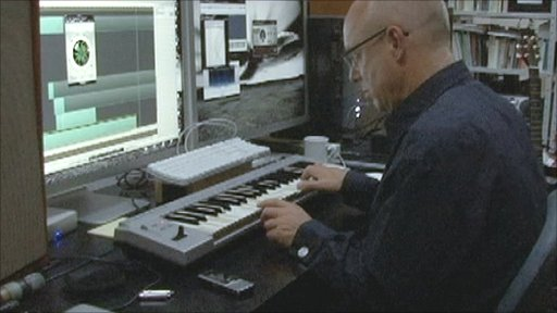 Brian Eno in the studio