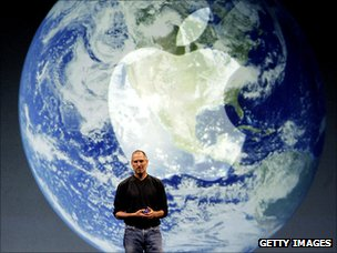 Steve Jobs with globe image