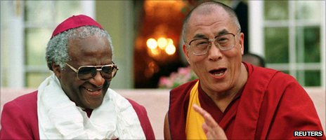 Archbishop Desmond Tutu and the Dalai Lama in Cape Town in 1996