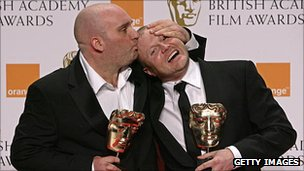 Shane Meadows (left) and Mark Herbert at the Bafta Awards 2008