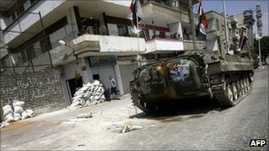 File image of a Syrian military tank in Homs, 160 km northeast of Damascus, August 2011