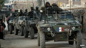 French soldiers patrol in village near Kabul, December 2008