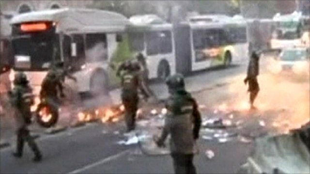 Violence at student protests in Chile's capital Santiago