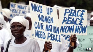Liberian women protesting in August 2003