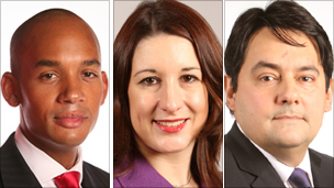 Chuka Umunna, Rachel Reeves and Stephen Twigg