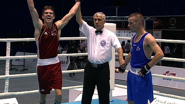 Luke Campbell celebrates his victory