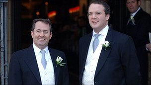 Liam Fox (left) and Adam Werritty (right) at the defence secretary's wedding in 2005