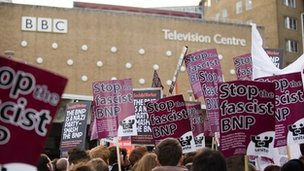 BNP protest at BBC